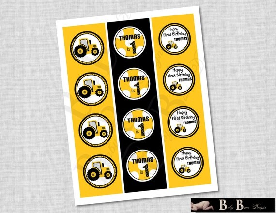 Tractor Birthday Party Tags/Cupcake Toppers/Stickers- Printable or Shipped