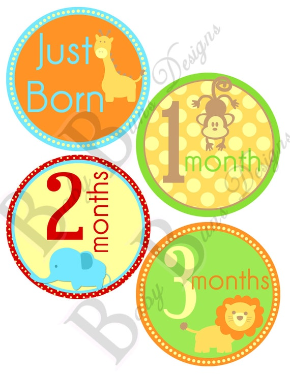 Baby Boy Animal Monthly Milestone Stickers- PRINTABLE- INSTANT DOWNLOAD
