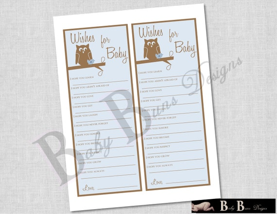 Wishes for Baby- Printable Game for Baby Shower- Blue & Brown Owl Theme- Printable- INSTANT DOWNLOAD