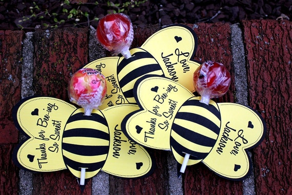 Personalized Bumble Bee Lollipop Party Favors- Printable or Shipped