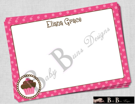 Pink Cupcake Thank You Note or Stationery- Printable