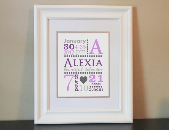 Baby Nursery Name Art Personalized Birth Announcement Print (Purple & Gray)- 8x10 Personalized Print