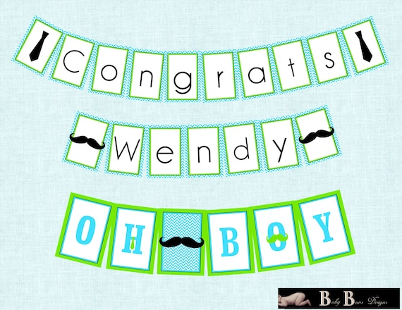 Little Man Moustache & Tie Baby Shower Congrats Banner (Blue and Green)- Printable or Shipped
