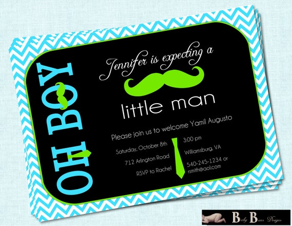 Little Man Moustache & Tie Boy Baby Shower Invitation