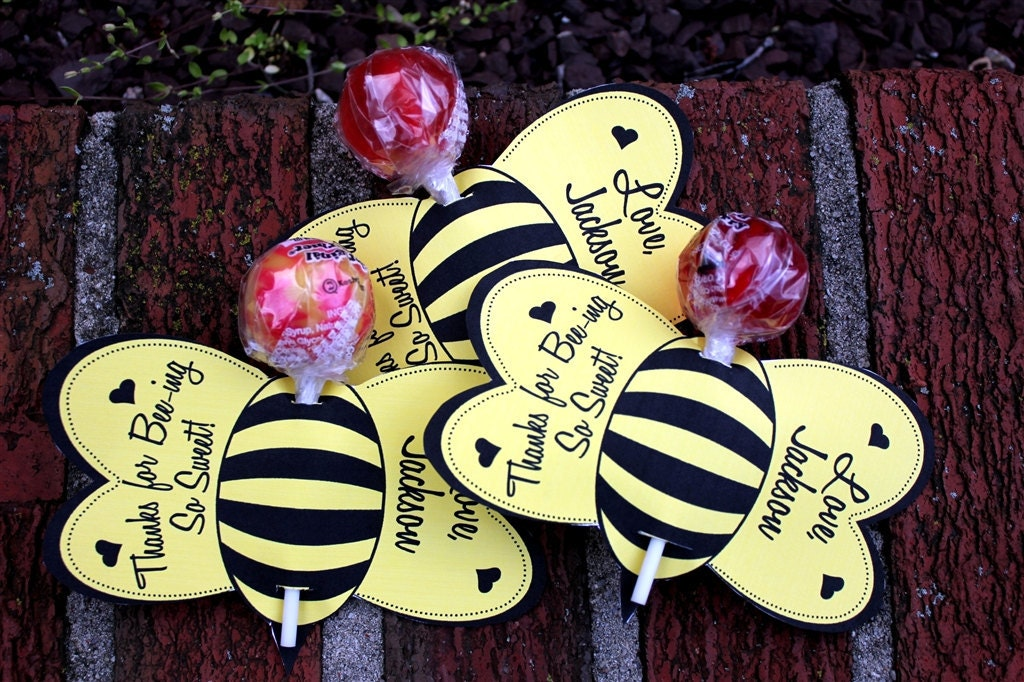 Personalized Bumble Bee Lollipop Party Favors Printable Or