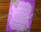 Bridal Baby Shower Damask Modern Any Color Custom Printable Party Invitation Invite Purple Pink Woman Women Birthday