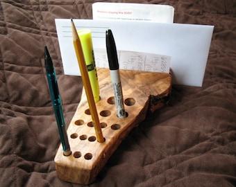 Heritage Oak Letter, Pen, Pencil, Tool Holder Wooden Display