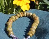 Handmade Green Natural Stone Rock  Bracelet w/ Tree of Life