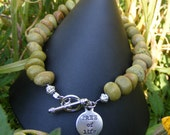 Handmade Green Natural Stone Bracelet w/ Tree of Life