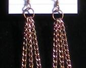 Natural Jungle Jasper Serpentine Bead and Antiqued Copper Handmade Earrings
