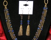SET Three Strand Gold Chain & Royal Blue with Gold Paint Swirls Glass Beads Oval Focal Links Handcrafted Necklace Free Earrings Set