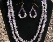 Natural Amethyst Chip Gold Wire Cone 2 Strand Handmade Necklace and Earrings SET