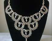 Stunning Metallic Bronze Lacy Motif Necklace With Swarovski Pearls and Crystals
