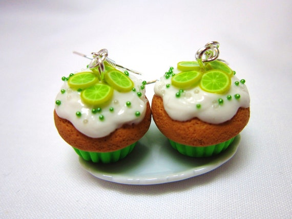 Key Lime CUPCAKE Polymer Clay Kawaii Dangle Earrings