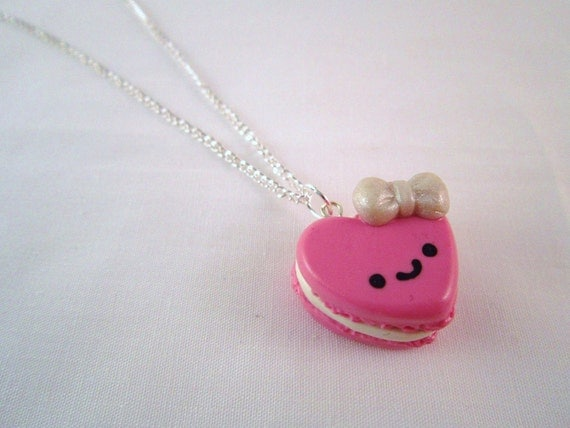 Kawaii Pink Heart Macaroon Silver Necklace