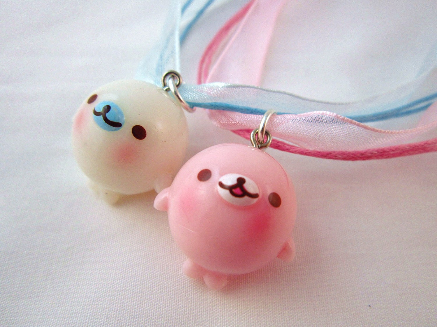 BFF Kawaii Mamegoma Donut Charm Necklace Best Friends Forever
