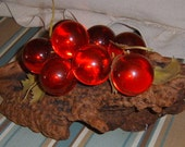 30% OFF SALE    Vintage Lucite Grapes , Driftwood, Red, WLV Team
