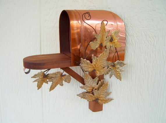 30% OFF  SALE   Vintage Mail Box,  Wall Decor,  Homco,   Copper mail box,