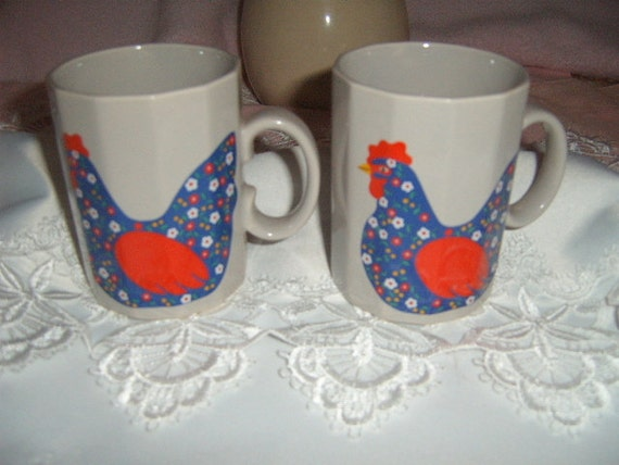 50% OFF,   Coffee Mugs, Vintage, Chicken, Calico,  Octagiri,  Made in Japan, Gray, Serving