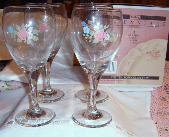 SALE, Vintage  Pfaltzgaff   Tea Rose Wine Glasses, Libby, Roses, Wine Glass, Roses, Pink,Shabby Chic