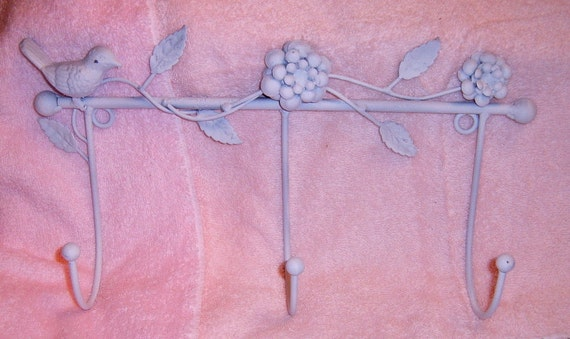 RESERVED     Coat Rack,Coat  Hook, Bird, Upcycled, Cast Metal, White, Wall Hanging,Shabby Chic