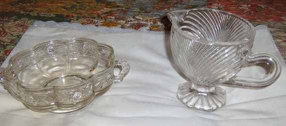 Reserved  for Cathy  30%  OFF    Vintage Clear Glass Bowl, Pitcher, Pressed Glass, Serving, Candy Dish, Relish Dish. Gravy Pitcher
