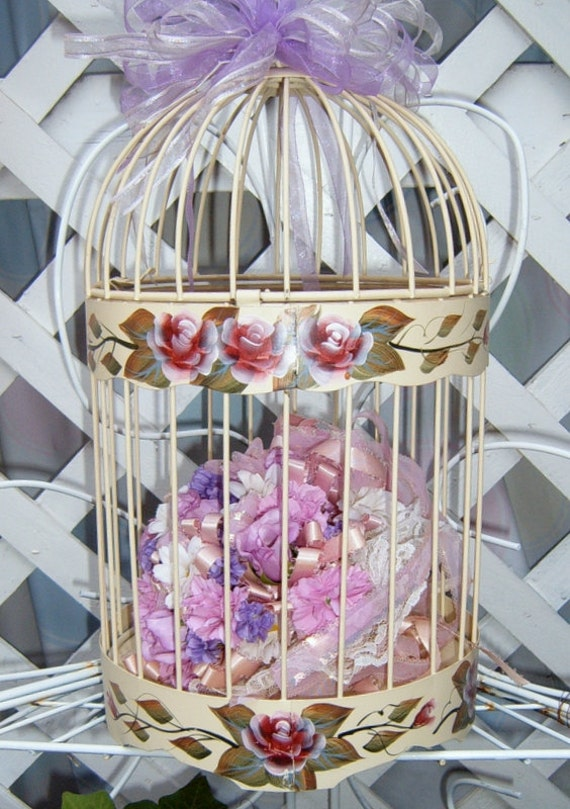 Reserved  for Cathy  30% OFF  Vintage Bird Cage, Hand Painted, Metal Bird Cage, Roses, Shabby Chic