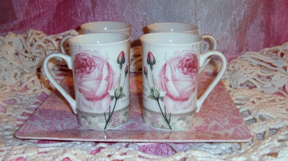 Reserved  for Cathy   30% OFF  Vintage Rose Coffee Mugs,Cup Covers, Porcelain, Roses, Set of Four, Serving, Kent Pottery,Coffee Cups