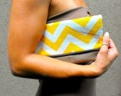 Chevron Leather Foldover Clutch- Upcycled