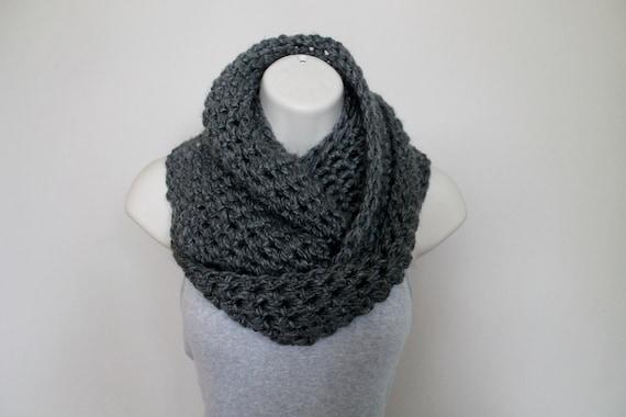 Slate Gray Crochet Cowl