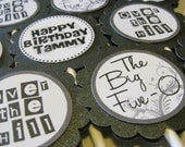 Custom 50th Birthday Gray and Black Cupcake Toppers