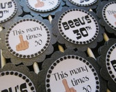 Custom 30th Birthday Black and Gray Cupcake Toppers