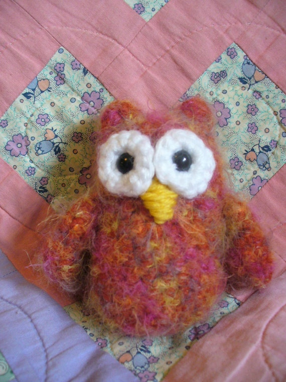 Small fuzzy crocheted owl (individual item - choose from brown, pink, or multi-colored)