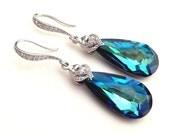 Swarovski Bermuda Blue Long Teardrop Crystal with White Gold Plated CZ Earrings