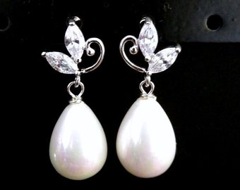 Wedding Bridal Pearl Earrings - White Large Teardrop Pearl with White Gold Plated Cubic Zirconia Flower Leaf Post Earrings