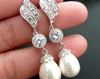 Bridal Earrings, White Pearl, Round CZ Drop with White Gold Plated Leaf Cubic Zirconia Post Earring