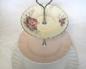 Vintage Cake Stand 3 Tier Pink & White Fair Lady Queen Anne Meakin Glamour Rosa High Tea
