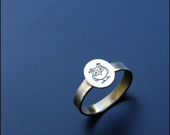 Owl ring - sterling silver