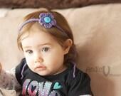 Crochet flower, tie headband