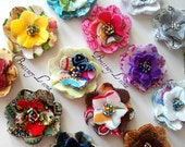 Fabric Flowers with Czech Glass Bead Centers