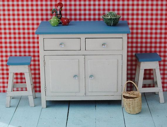 Unique 1950's vintage miniature TOY  KITCHEN SET - handmade wooden furniture: cupboard & 2 stools