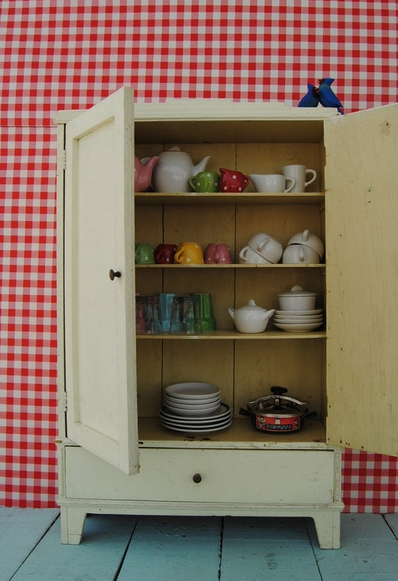 Unique 1950's vintage miniature TOY CHINA CABINET - handmade wooden cabinet with drawer and shelves - painted in white/eggshell colour