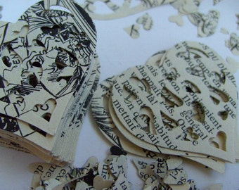100, Love heart, Confetti, Large hearts, tiny ones, French vintage book, by DoodleDee2