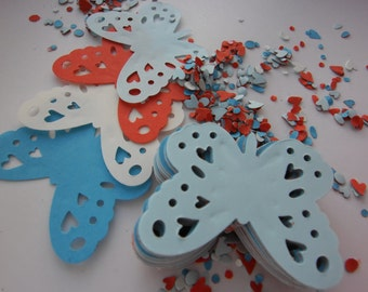 100,Red, blue, white, Nautical,  Paper, Butterflies, scrap booking, card making, by doodledee2