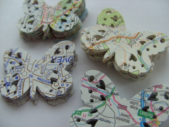 100,Paper butterflies, confetti, Pastels, soft, scrap booking, paper craft, card making, tags, Maps, England, by DoodleDee2