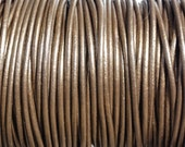 10 Yards 1mm Metallic Brown Genuine Leather Round Cord - 1.0mm Leather Cord