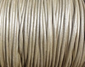 1.5mm Metallic Pearl White Leather Cord  -  Genuine Leather Round Cord
