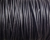 10 Yards 1.5mm Leather Cord Black Natural Dyed Matte Finish