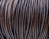 2mm Antique Brown Leather Cord - Distressed Leather Cord Round Natural Dye - 2 Yard Increments