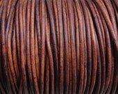 50 Meter Spool (54.7 Yards) 1.5mm  Distressed Red Brown Leather Cord Natural Dye